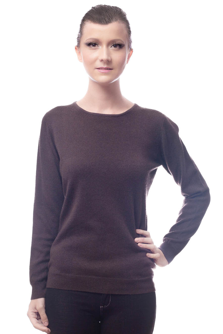 pull col rond pure cashmere femme noir