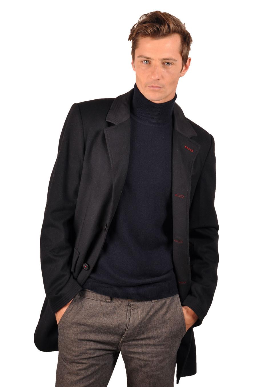 Manteau cachemire homme PRINCE noir devant