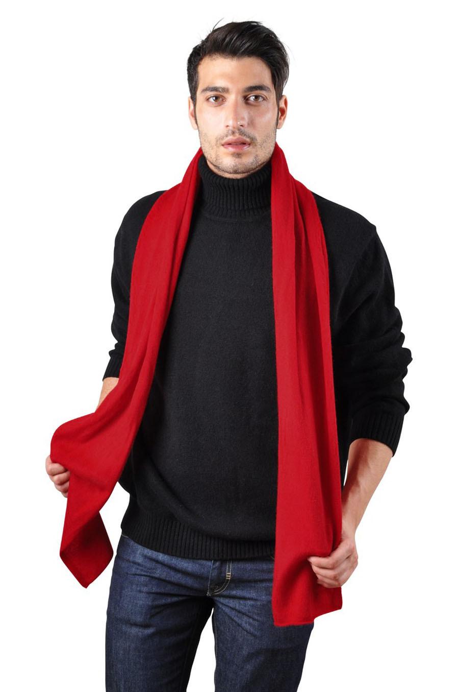 Echarpe cachemire rouge homme