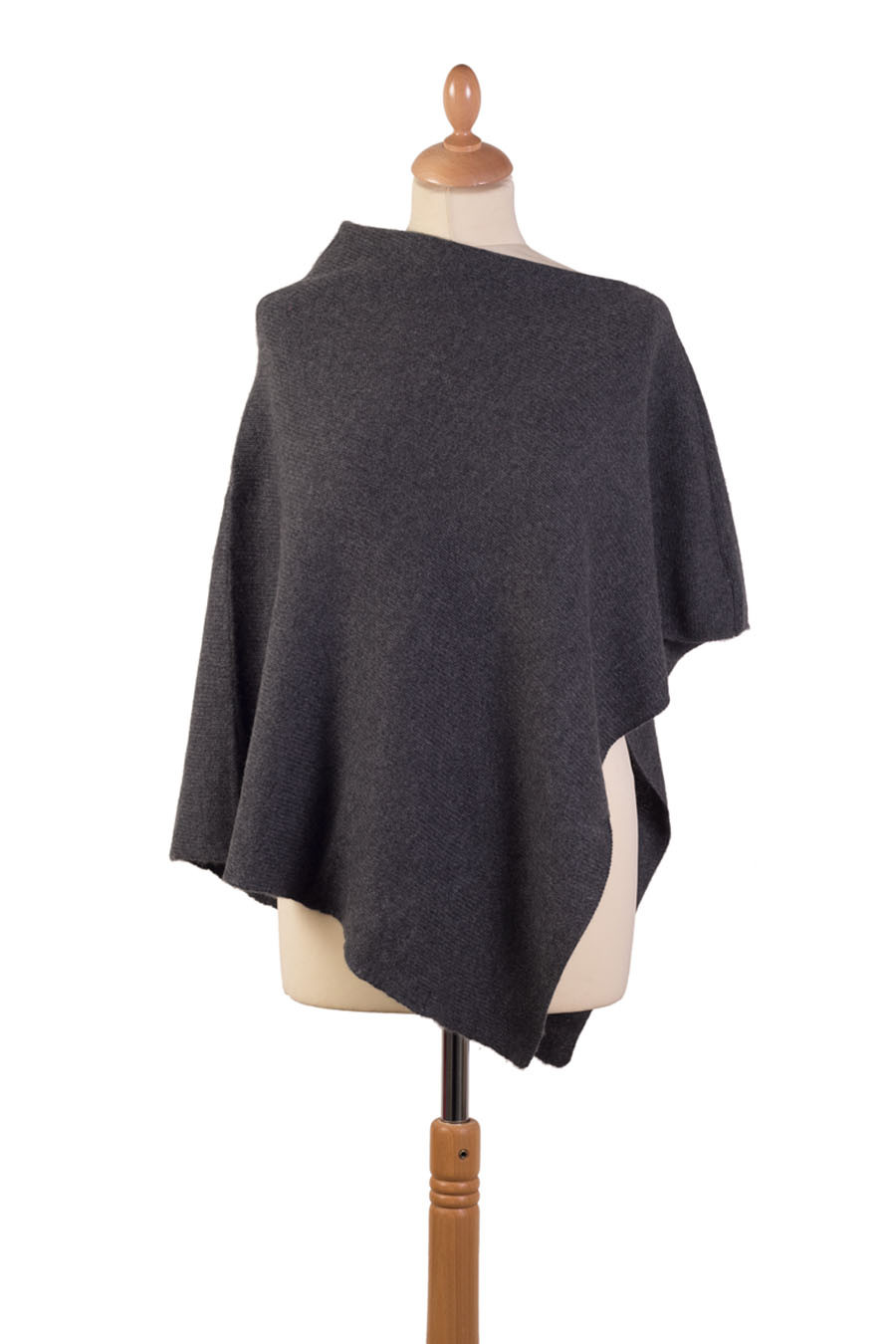Poncho 4 fils cachemire SHAULA Gris anthracite
