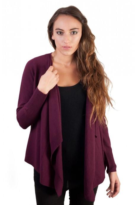 Gilet cachemire drapé femme UMA violet